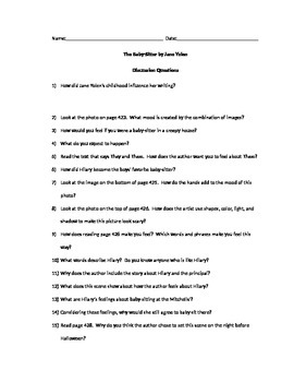 The Babysitter Discussion Questions