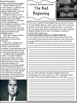 The Bad Beginning Novel Study and Project Menu (A Series of Unfortunate Events)