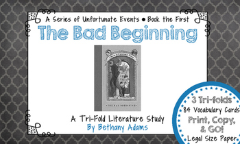 The Bad Beginning (A Series of Unfortunate Events) Tri-fold Literature Study