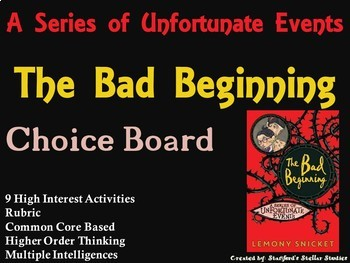 The Bad Beginning Choice Board Novel Study Activities Menu Book Project