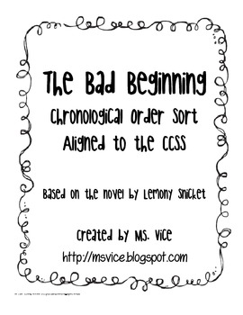 The Bad Beginning Chronological Order Sort