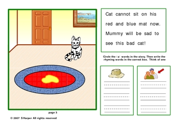 The Bad Cat  Smartboard lesson  on Short vowel a and Dolch Words