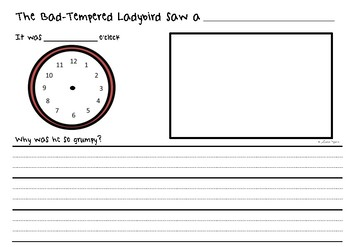 The Bad Tempered Ladybird Writing Sheet
