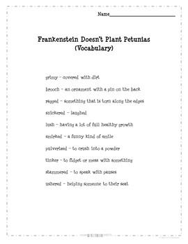 "The Bailey School Kids ""Frankenstein Doesn't Plant Petunias"" VOCABULARY"