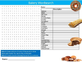 The Bakery Wordsearch Sheet Starter Activity Keywords Bakers Food Nutrition
