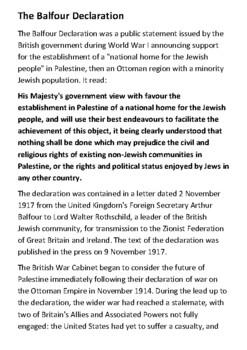 The Balfour Declaration Handout