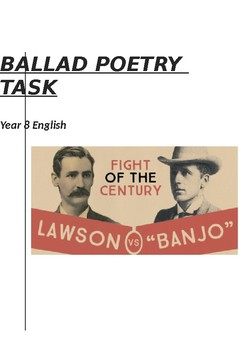 The Ballad Poetry Task Year 8 English