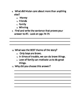 The Ballad of Mulan CC Based questions Grade 3