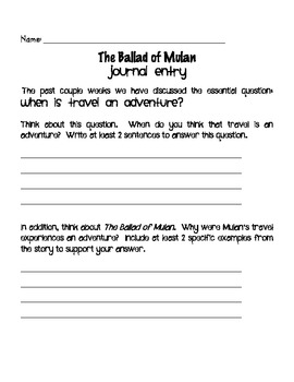 The Ballad of Mulan Packet- Aligned with the Common Core Curriculum
