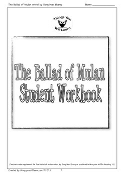 The Ballad of Mulan Student Workbook
