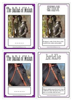 The Ballad of Mulan Vocabulary Cards