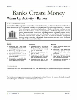 The Banking System - Lesson Plan and Activities