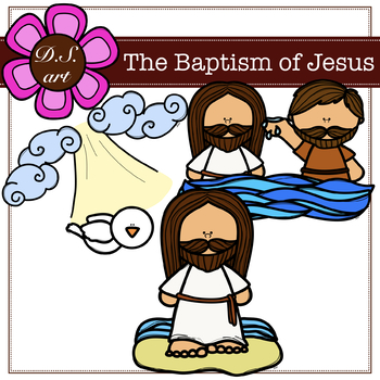 The Baptism od Jesus Digital Clipart (color and black&white)