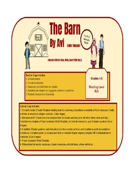 The Barn by Avi Literature Unit - Color (Most Suitable for 3rd - 6th grade)