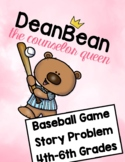 The Baseball Game Story Problem One Pager for Grades 4-6th