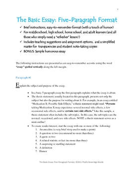 the basic essay five paragraph format a touch of humor tpt the basic essay five paragraph format a touch of humor