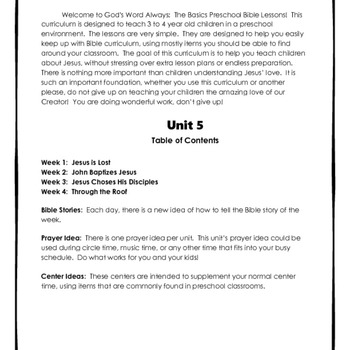 The Basics Preschool Bible Lessons:  Unit 5