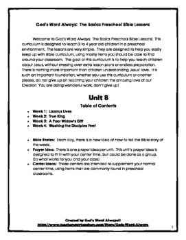 The Basics Preschool Bible Lessons:  Unit 8