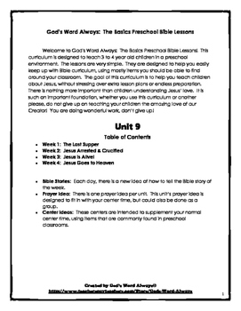 The Basics Preschool Bible Lessons:  Unit 9