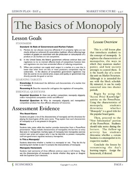 The Basics of Monopoly - Lesson Plan and Activities
