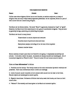 The Basics of Shinto Handout, Activity.   History 101