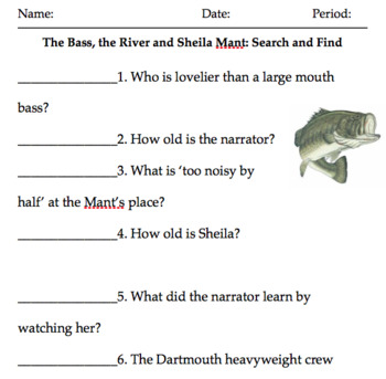 The Bass, The River and Sheila Mant close read, fig. lang. disc. ques. vocab