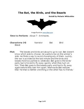 The Bat, the Birds, and the Beasts - Small Group Reader's Theater by Aesop