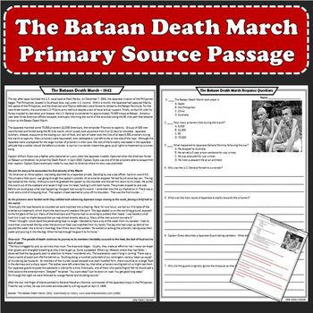 The Bataan Death March Primary Source Reading Passage and Worksheet