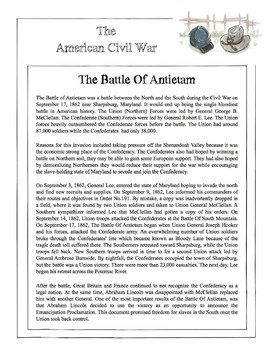 Civil War - The Battle Of Antietam Content Sheet, Worksheet & Answer Key