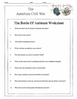 War - The Battle Of Antietam Content Sheet, Worksheet & Answer Key