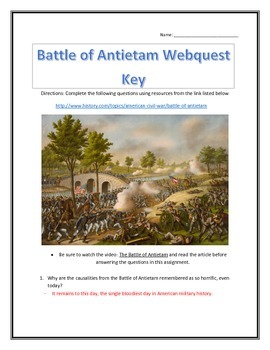 The Battle of Antietam- Webquest and Video Analysis with Key