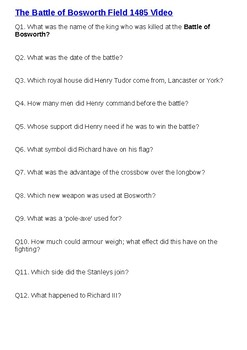 The Battle of Bosworth Field 1485 Video Question Sheet