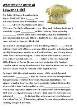 The Battle of Bosworth Field Cloze Activity