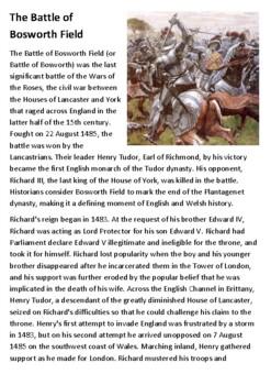 The Battle of Bosworth Field Handout