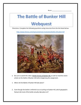 The Battle of Bunker Hill- Webquest and Video Analysis with Key
