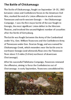 The Battle of Chickamauga Handout with activities
