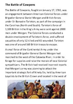 The Battle of Cowpens Handout