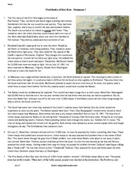 The Battle of First Bull Run - Grade 5