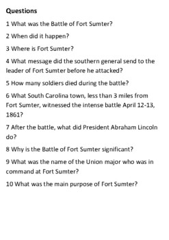 The Battle of Fort Sumter Handout