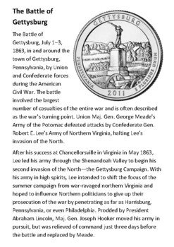The Battle of Gettysburg Handout