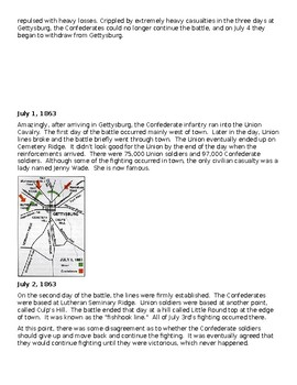 The Battle of Gettysburg Video and Reading Activity