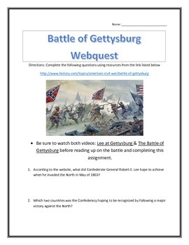 The Battle of Gettysburg- Webquest and Video Analysis with Key