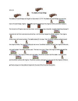 The Battle of Great Bridge Adapted Text with Picture Symbols