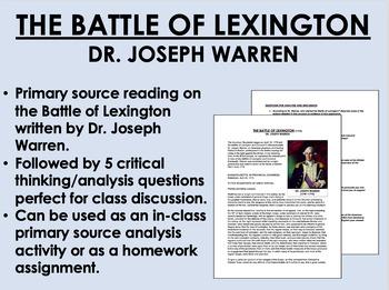 """The Battle of Lexington"" - Dr. Joseph Warren - American Revolution - USH/APUSH"