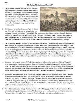The Battle of Lexington and Concord - Grade 4