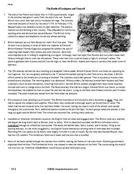 The Battle of Lexington and Concord - Grade 7