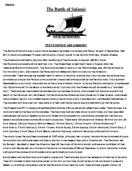 The Battle of Salamis Text Evidence and Summary Assignment