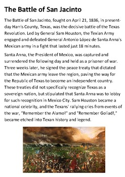 The Battle of San Jacinto Handout