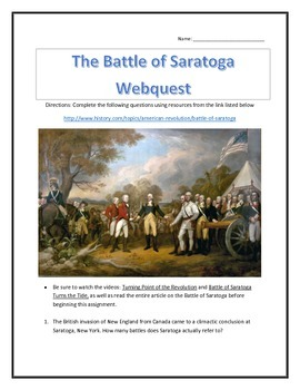 The Battle of Saratoga- Webquest and Video Analysis with Key