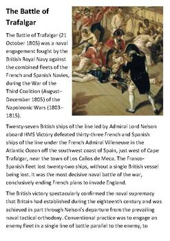 The Battle of Trafalgar Handout